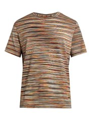 Missoni Striped Crew Neck Cotton T Shirt Multi