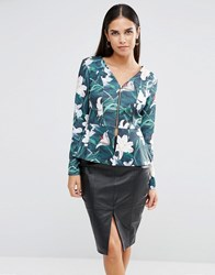 Vesper Floral Print Jacket With Zip Front Lily Print Multi