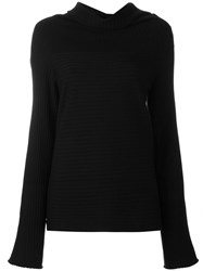 Malo Roll Neck Ribbed Pullover Black