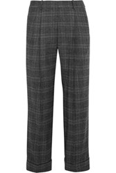 Michael Kors Collection Cropped Prince Of Wales Check Stretch Wool Straight Leg Pants Anthracite
