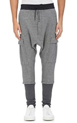 Nlst Men's Cotton Cargo Harem Sweatpants Grey Dark Grey Grey Dark Grey