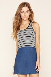 Forever 21 Striped Racerback Crop Top