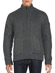 Buffalo David Bitton Rib Knit Zip Up Sweater Heather Grey