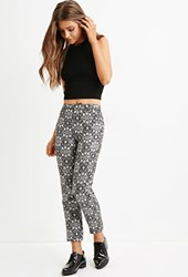 Forever 21 Metallic Ornate Pants Black Cream