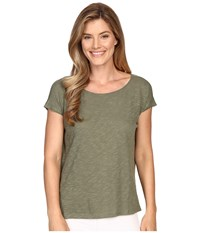 Lilla P Flame Gauze Dolman Sleeve Boat Neck Thyme Women's T Shirt Green
