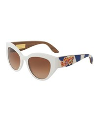 Dolce And Gabbana Wood Trim Universal Fit Cat Eye Sunglasses White