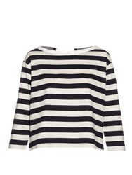 Moncler Long Sleeved Striped Cotton Jersey Top Navy White