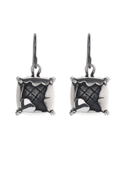 Bottega Veneta Intrecciato Oxidised Silver Drop Earrings