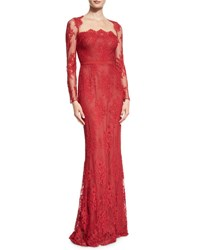 Marchesa Long Sleeve Lace Column Gown Red
