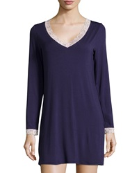 Fleurt In The Mood Lace Trim Long Sleeve Sleep Shirt Eclipse Shell