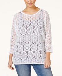 Alfani Plus Size Dolman Sleeve Lace Top Only At Macy's Bright White