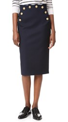 Red Valentino Pencil Skirt With Button Detail Blue