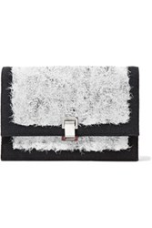 Proenza Schouler Appliqued Felt And Leather Clutch White
