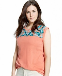 Violeta By Mango Plus Size Sleeveless Beaded Top Light Pastel