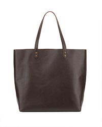 Hat Attack Simple Leather Tote Bag Chocolate