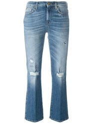 7 For All Mankind Cropped 'Boo' Jeans Blue