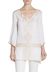 Calypso St. Barth Etasa Linen Embroidered Tunic White