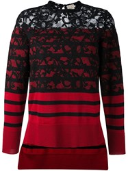 Nude Striped Lace Panel Pullover Red