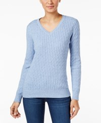 Karen Scott Petite Cable Knit Marled Sweater Only At Macy's Lux Blue Marl
