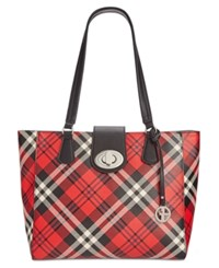 Giani Bernini Plaid Tote Only At Macy's Red Multi