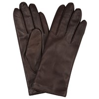 John Lewis Cashmere Lined Leather Gloves Chocolate