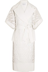 Vionnet Embroidered Cotton And Silk Blend Organza Coat White