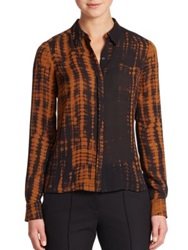 A.L.C. Song Tie Dye Silk Blouse Black Camel