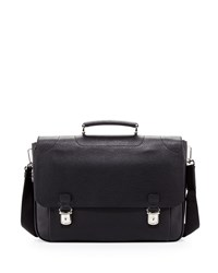 Leather Double Snap Briefcase Black Bally