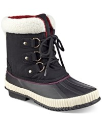 Tommy Hilfiger Ebonie Lace Up Duck Booties Women's Shoes Black