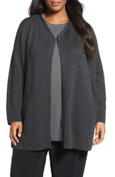 Eileen Fisher Plus Size Women's Tencellyocell And Merino Wool Long Cardigan