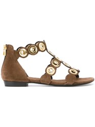Barbara Bui Eyelet Sandals Brown