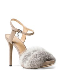 Michael Michael Kors Faye Rabbit Fur And Suede Slingback Sandals Pearl Grey