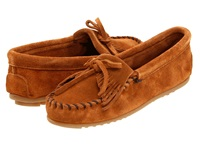 Minnetonka Kilty Suede Moc Brown Suede Women's Moccasin Shoes