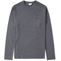 Sunspel Long Sleeve Pocket Tee Grey
