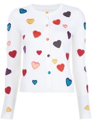 Alice Olivia Heart Embroidered Cardigan White