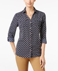 Charter Club Petite Printed Shirt Only At Macy's Deepest Navy Combo