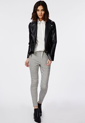 Missguided Gingham High Waisted Skinny Trousers White White