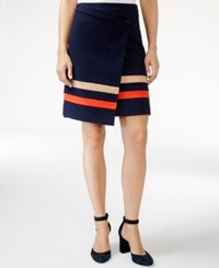 Tommy Hilfiger Striped Faux Wrap Skirt Only At Macy's Masters Navy