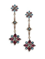 Stephen Dweck Toledo Rhodolite Garnet Blue Topaz And Sterling Silver Flower Drop Earrings