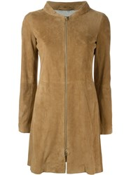 Herno Panelled Zip Coat Nude And Neutrals