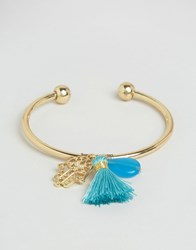 Cara Jewellery Ny Tassel And Hamsa Hand Bracelet Gold Green
