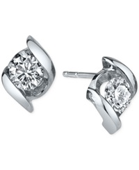 Sirena Diamond Twist Stud Earrings 1 4 Ct. T.W. In 14K White Gold