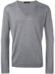 Roberto Collina V Neck Fitted Jumper Grey