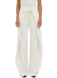 Proenza Schouler High Waisted Wide Leg Wrap Pants White