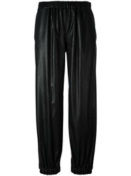 Maison Martin Margiela Mm6 Faux Leather Track Pants Black