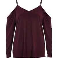 River Island Womens Dark Red Ruched Cold Shoulder Top