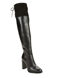 French Connection Calina Suede And Leather Boots Black