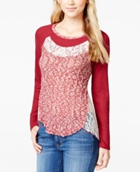 Almost Famous Juniors' Long Sleeve Contrast Top Wine
