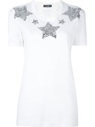 Dolce And Gabbana Sequin Star T Shirt White