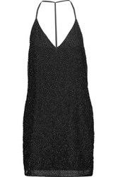 W118 By Walter Baker Kora Beaded Crepe De Chine Mini Dress Black